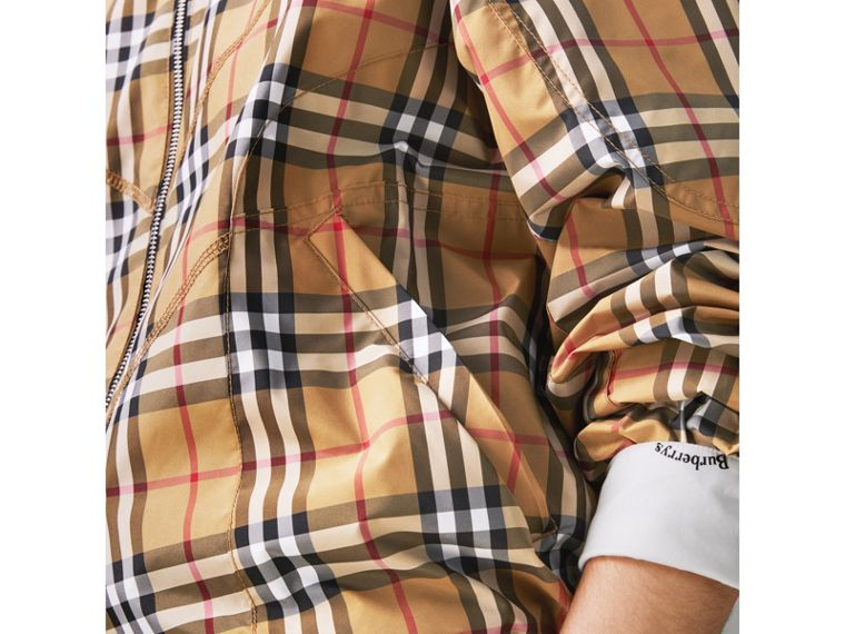 Topstitch Detail Vintage Check Harrington Jacket in Antique Yellow - Women | Burberry - cell image 4