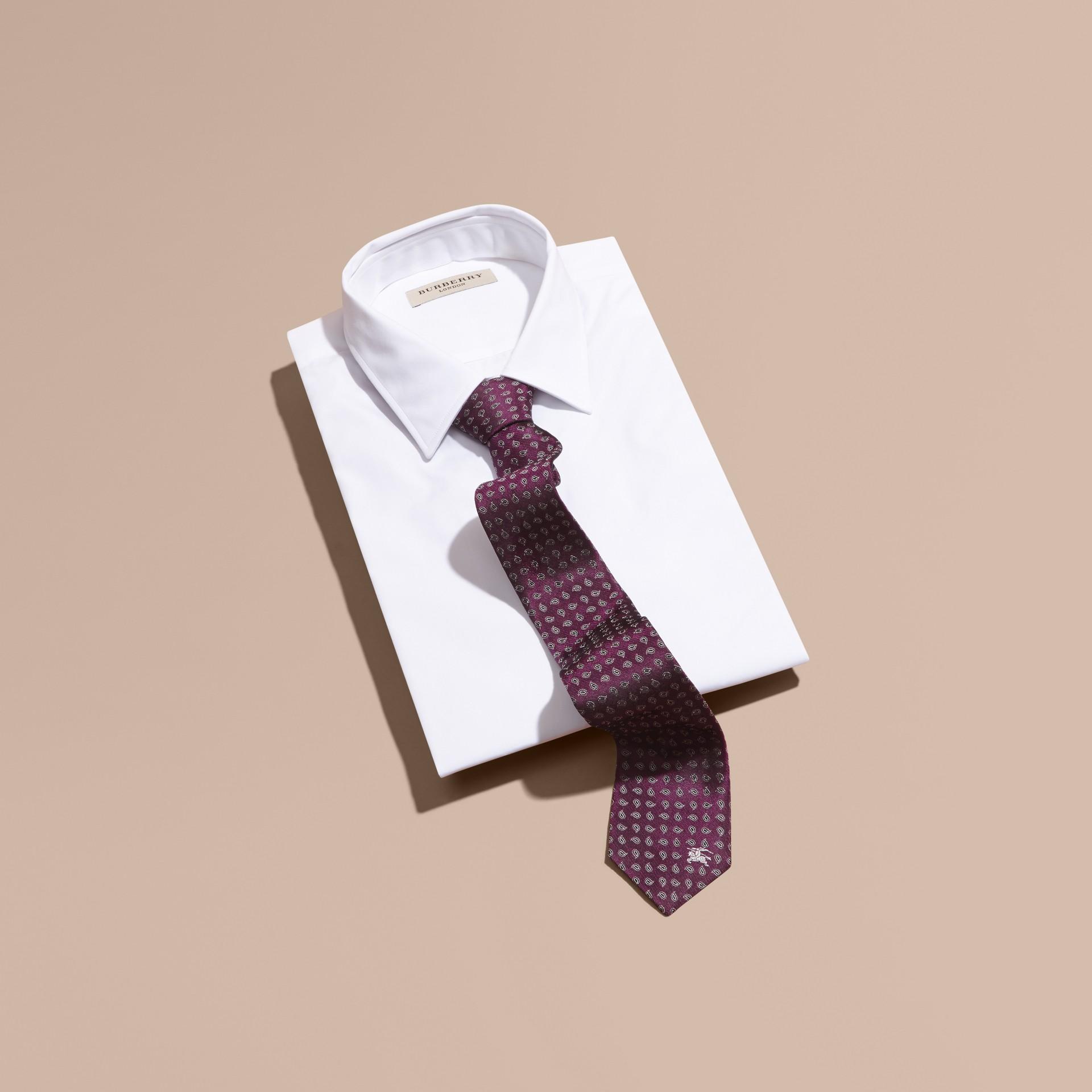 Purple Modern Cut Paisley Jacquard Silk Tie - gallery image 1