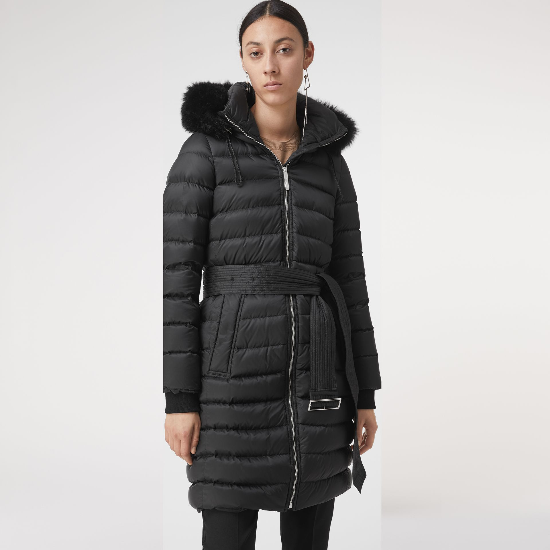 Detachable Shearling Trim Down-filled Puffer Coat in Black - Women | Burberry - gallery image 2