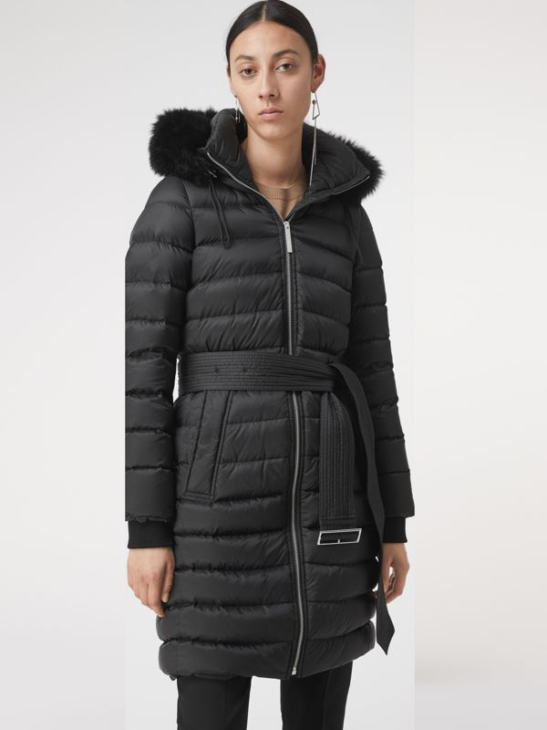 Detachable Shearling Trim Down-filled Puffer Coat in Black - Women | Burberry - cell image 2