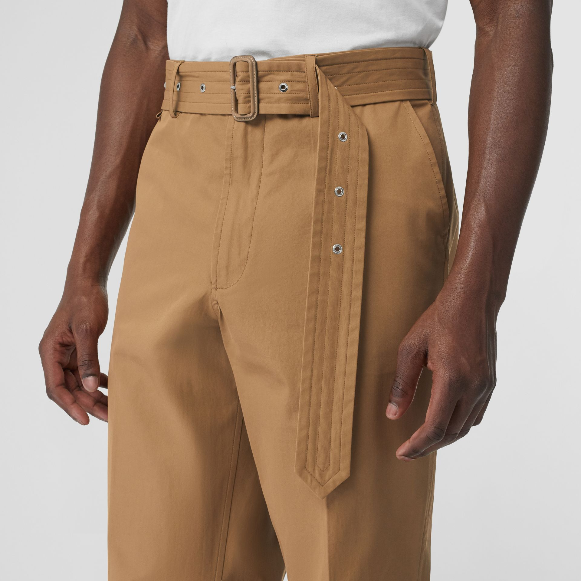D-ring Detail Belted Cotton Trousers in Toffee | Burberry - gallery image 1