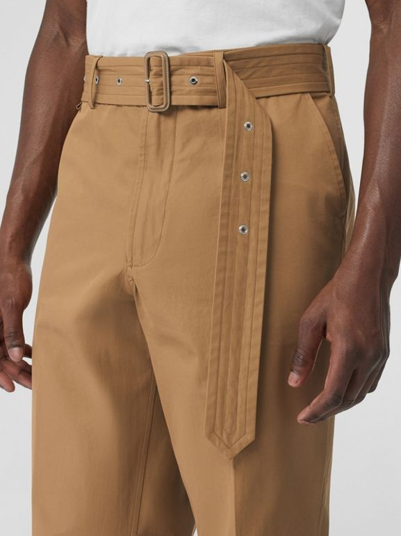 D-ring Detail Belted Cotton Trousers in Toffee | Burberry United Kingdom - cell image 1