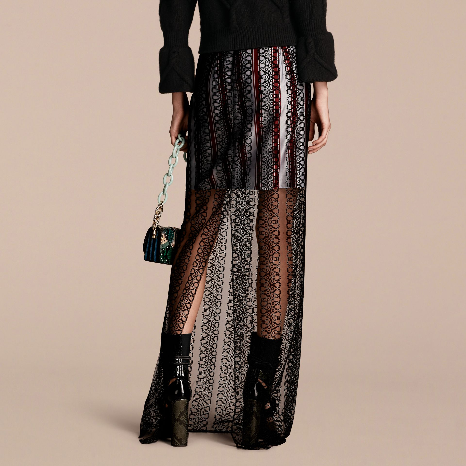 Black Braided Tulle Column Skirt with Striped Lining Black - gallery image 3