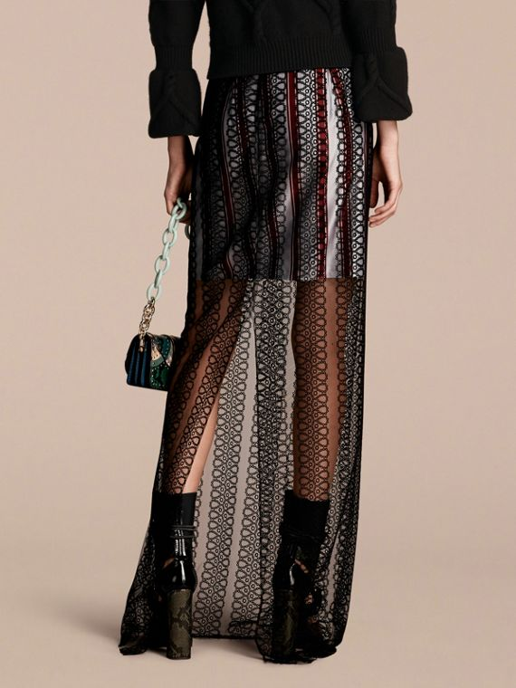 Black Braided Tulle Column Skirt with Striped Lining Black - cell image 2