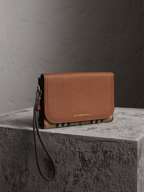 Leather and Haymarket Check Wristlet Wallet - Women | Burberry Canada
