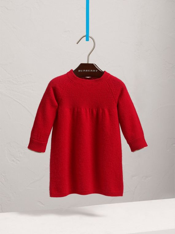 Check Cuff Knitted Cashmere Dress in Parade Red