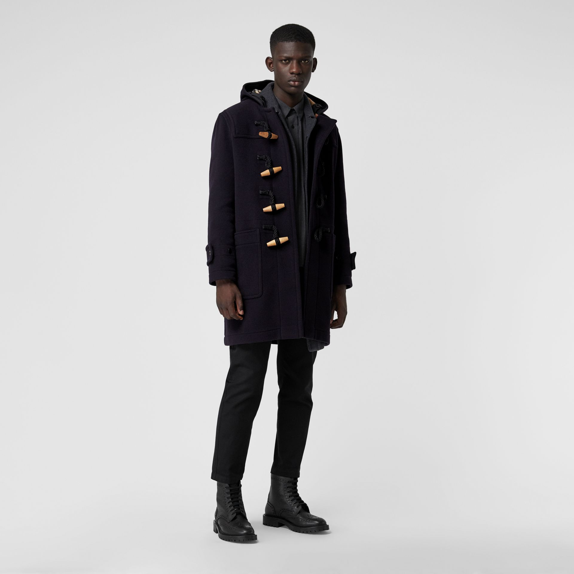 Vintage Check Detail Wool Blend Hooded Duffle Coat in Navy - Men | Burberry Singapore - gallery image 0