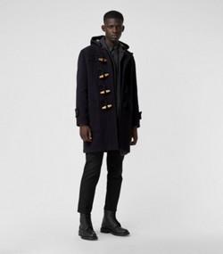 2bc29afc8590 Duffle-coat à capuche en laine mélangée à motif Vintage check (Marine)