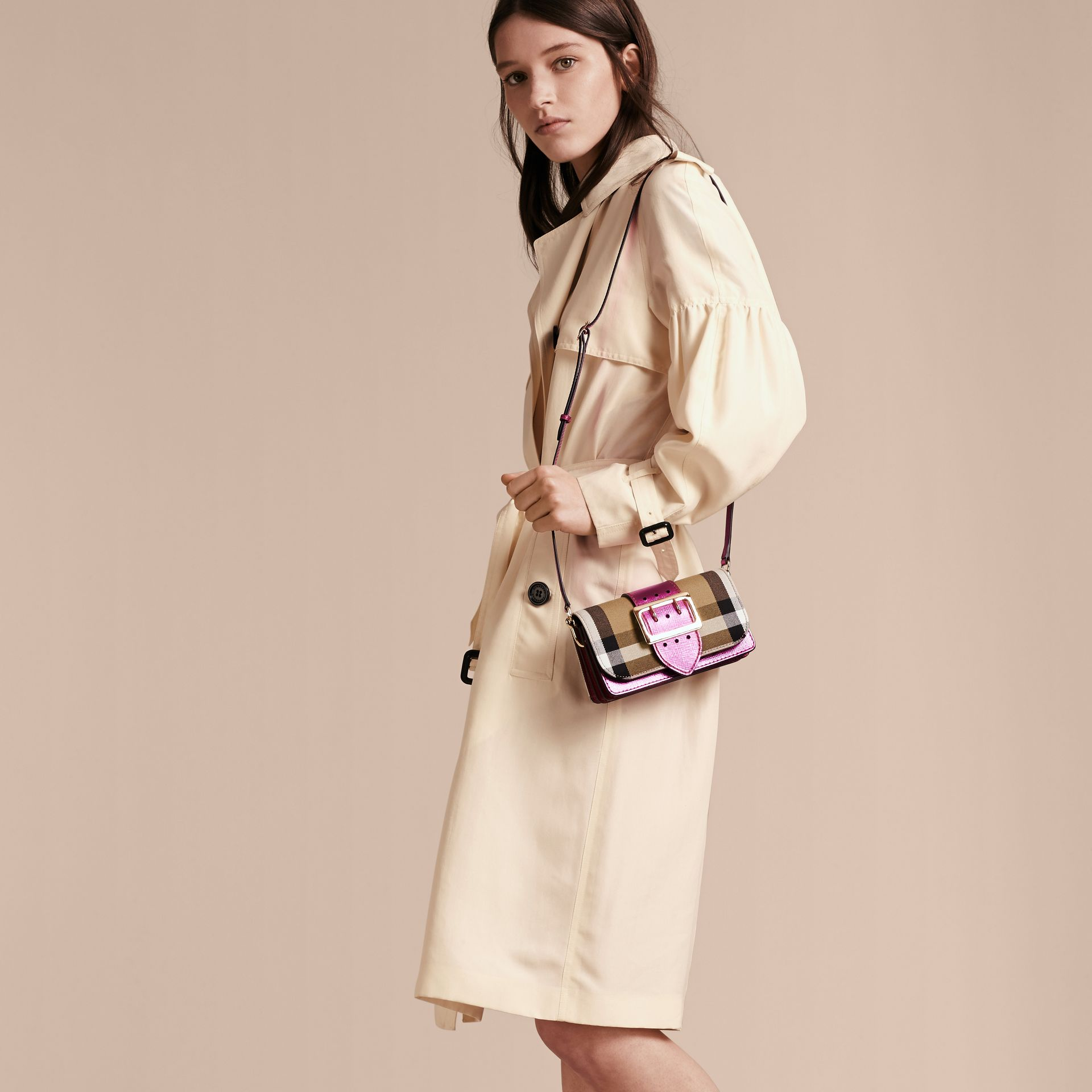 The Small Buckle Bag in House Check and Leather in Bright Pink - gallery image 3