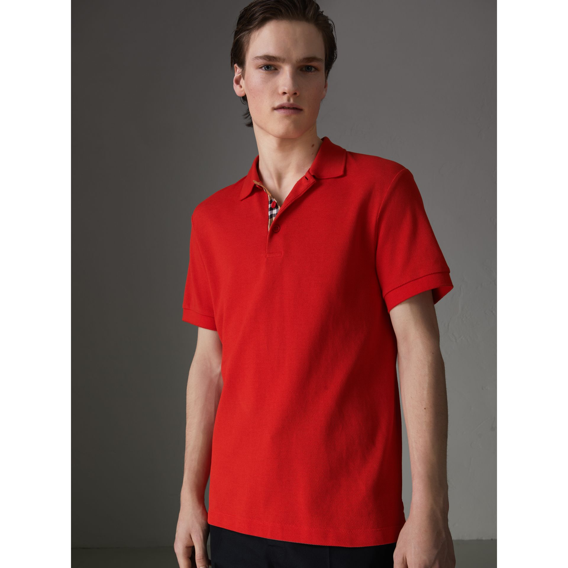 Check Trim Cotton Polo Shirt in Bright Red - Men | Burberry - gallery image 4