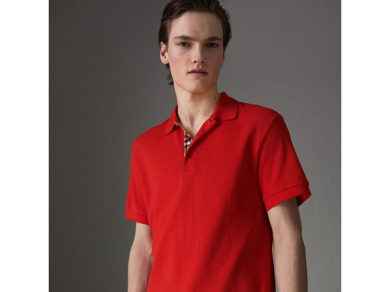 Check Trim Cotton Polo Shirt in Bright Red - Men | Burberry - cell image 4