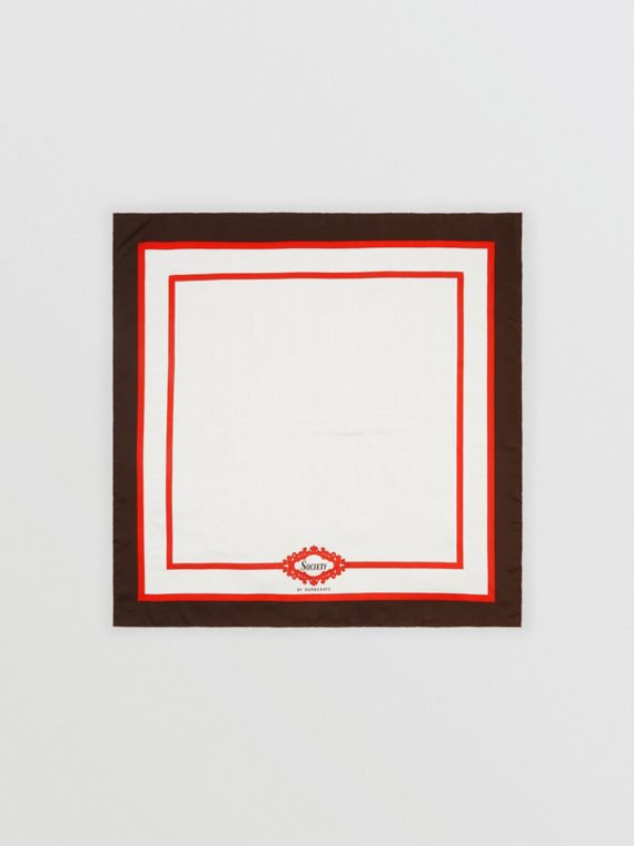 Archive Society Print Silk Square Scarf in Mahogany