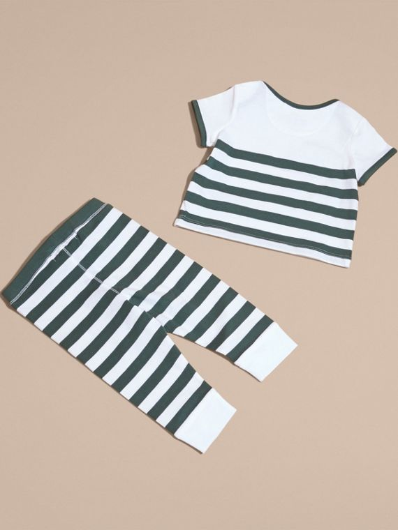 Striped Cotton Two-piece Baby Gift Set with Appliqué Racing Green - cell image 2