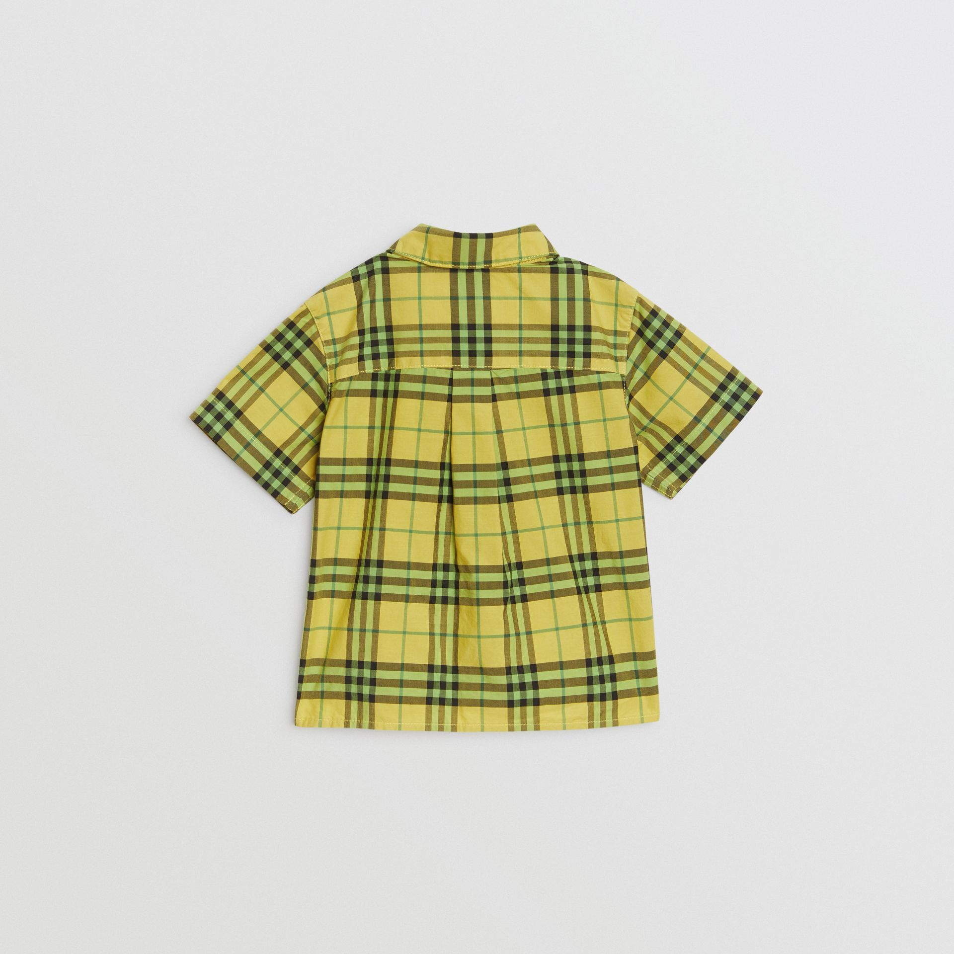 Short-sleeve Check Cotton Shirt in Citron - Children | Burberry Australia - gallery image 3