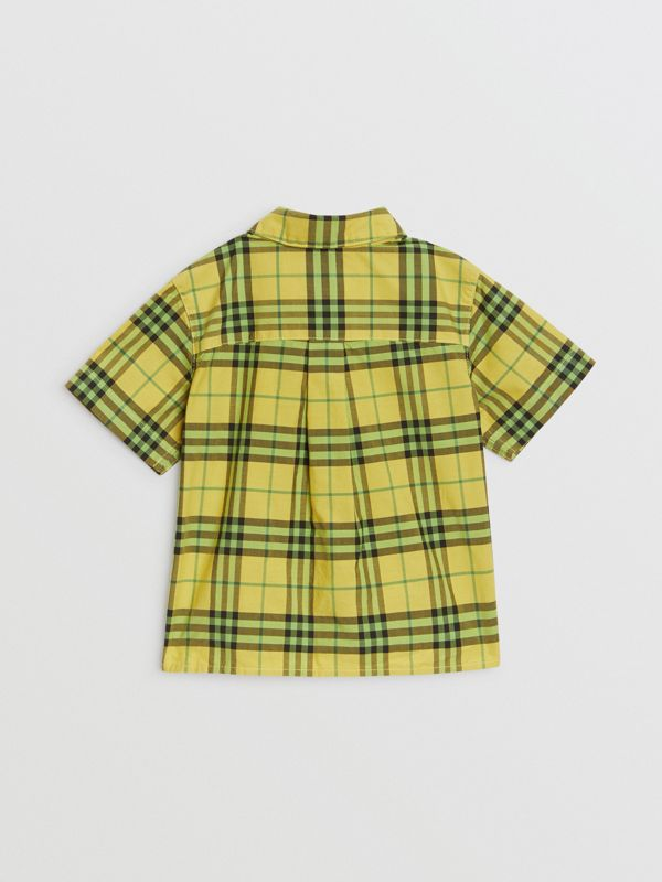 Short-sleeve Check Cotton Shirt in Citron - Children | Burberry Australia - cell image 3