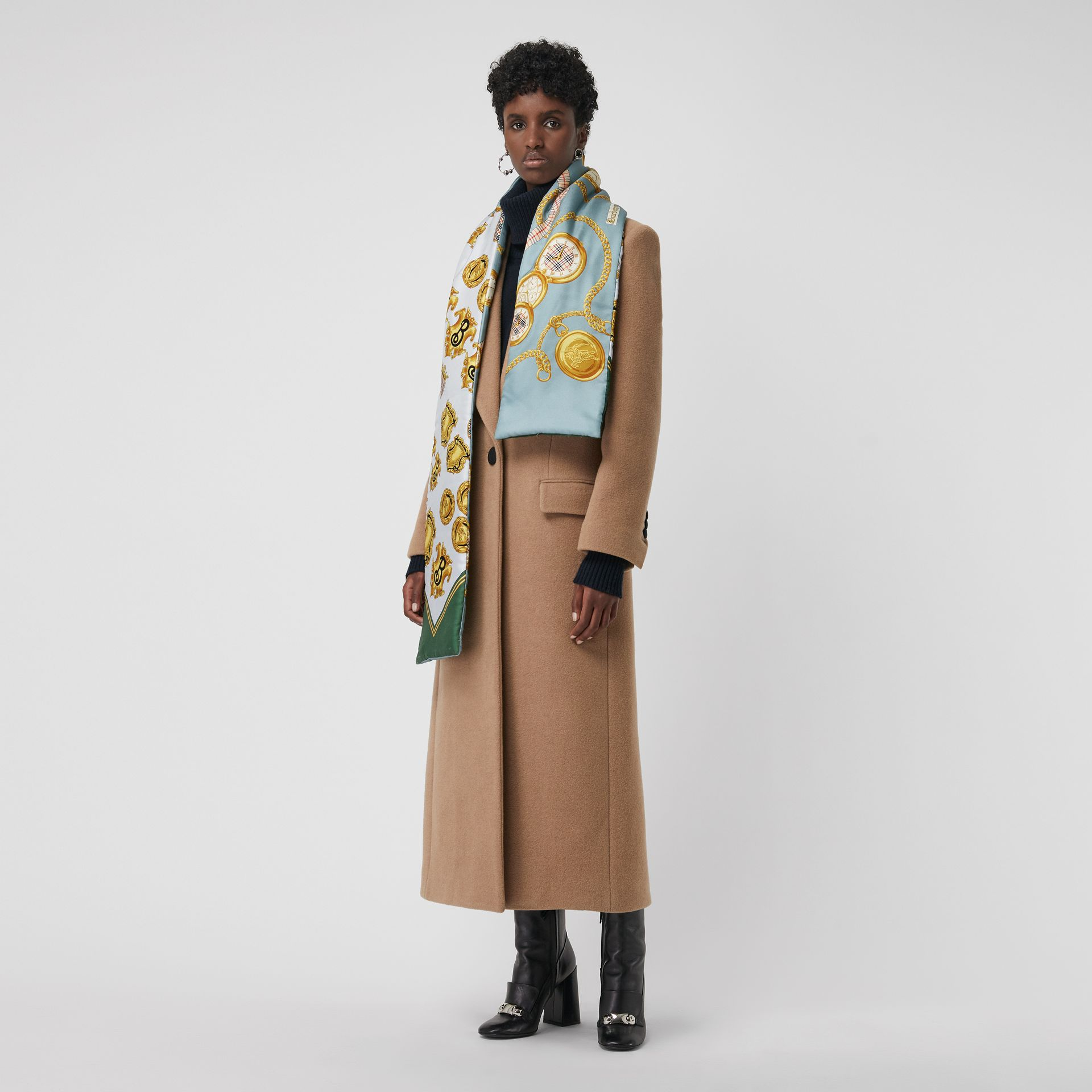 Archive Scarf Print Silk Puffer Scarf in Multicolour | Burberry United Kingdom - gallery image 2