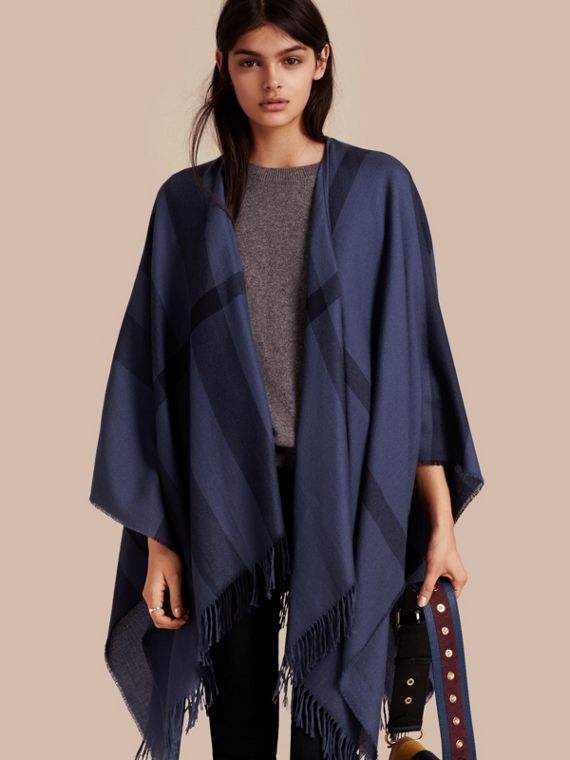 Lightweight Check Cashmere Poncho Navy
