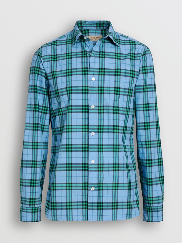 Check Cotton Shirt in Blue Topaz - Men | Burberry Singapore - cell image 3