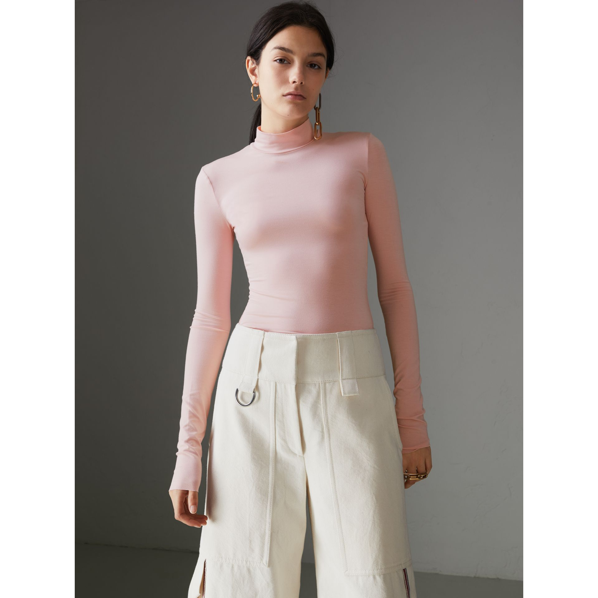 Stretch Modal Silk Turtleneck Top in Light Pink - Women | Burberry Australia - gallery image 0