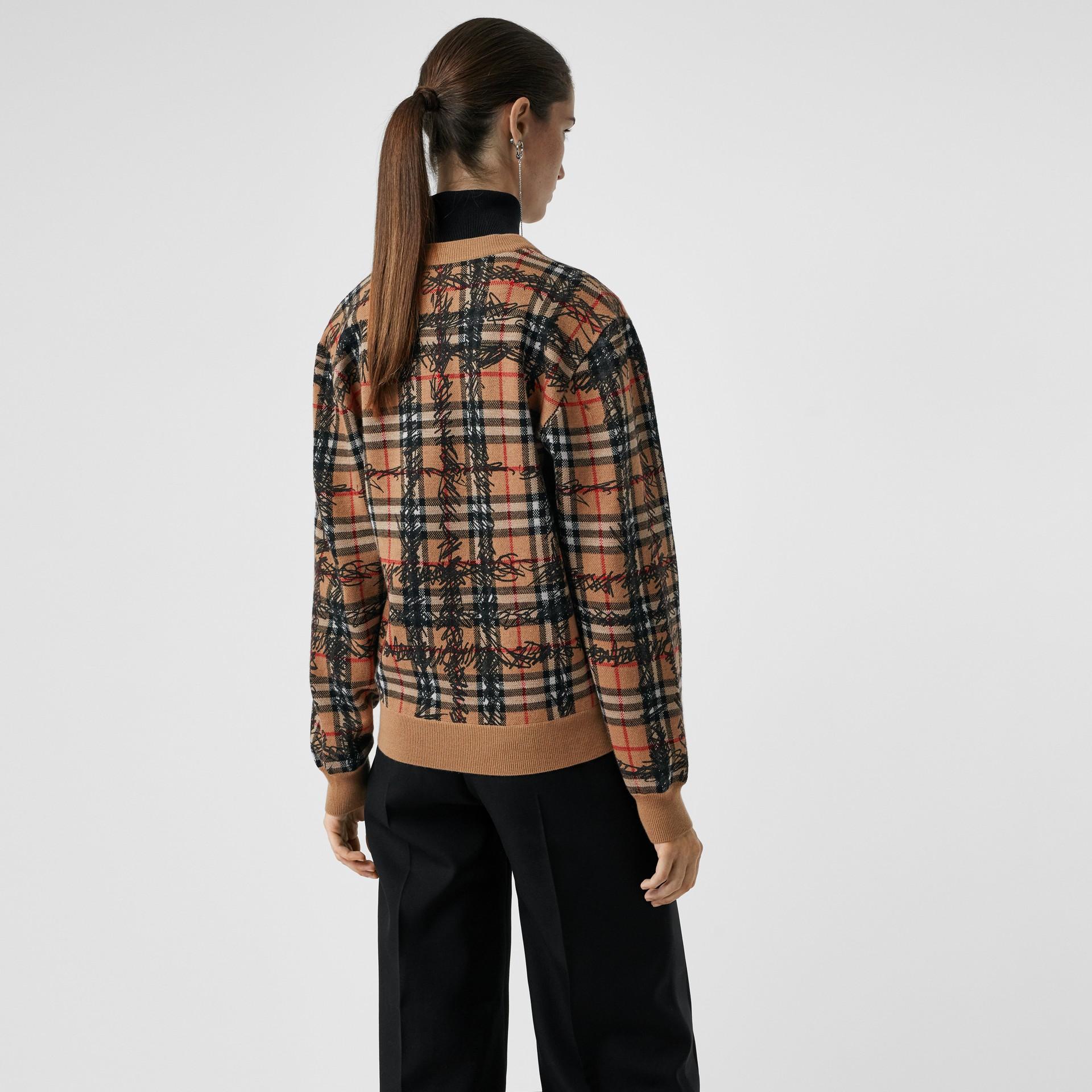 Scribble Check Merino Wool Sweater in Camel/black - Women | Burberry - gallery image 2