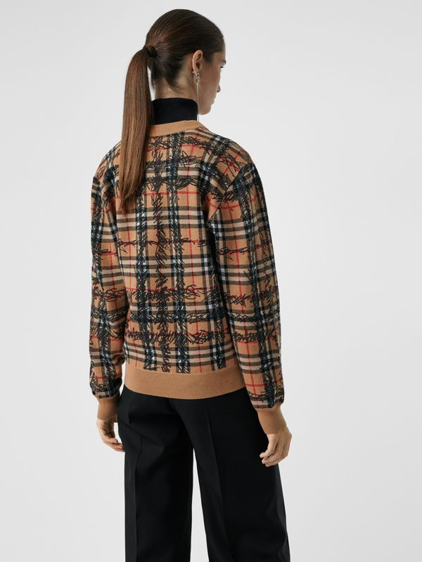 Scribble Check Merino Wool Sweater in Camel/black - Women | Burberry - cell image 2