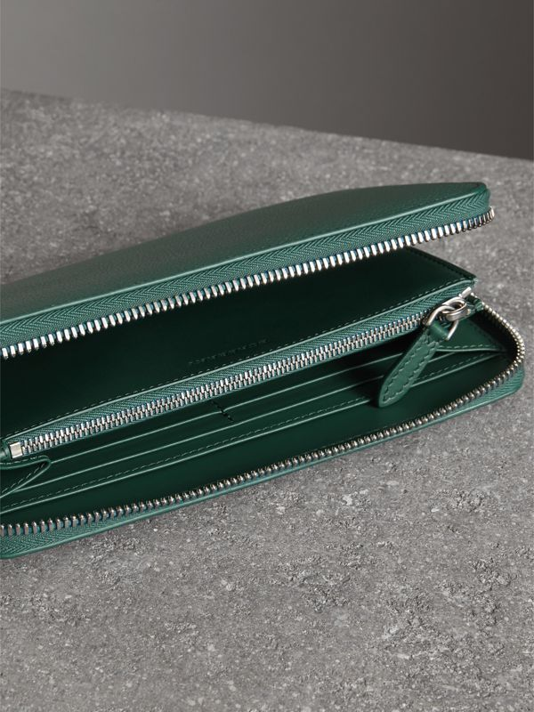 Grainy Leather Ziparound Wallet in Dark Cyan - Men | Burberry United Kingdom - cell image 3