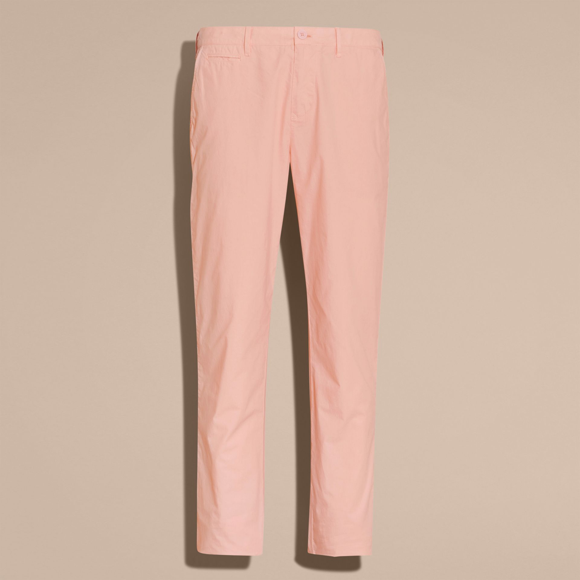Slim Fit Cotton Poplin Chinos Apricot Pink - gallery image 4