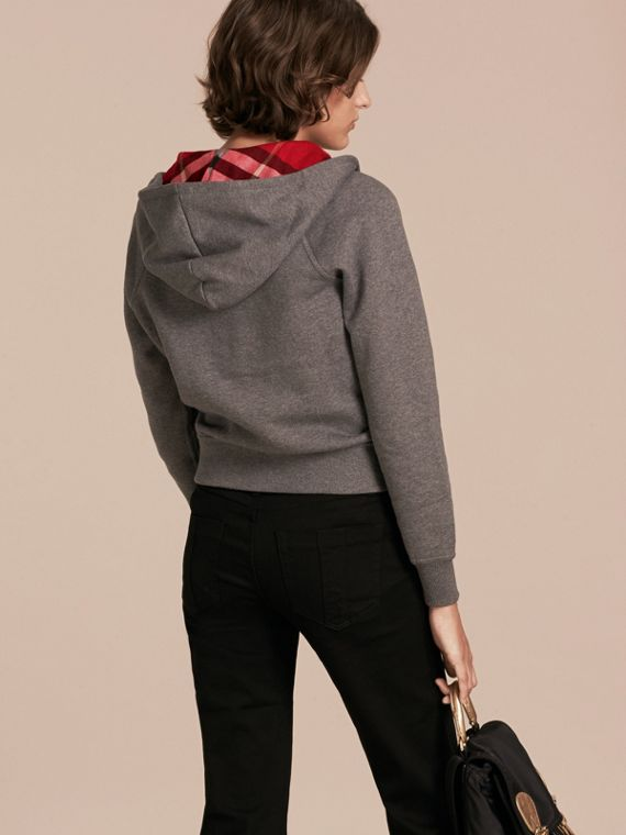 Hooded Zip-front Cotton Blend Sweatshirt in Mid Grey Melange - cell image 2
