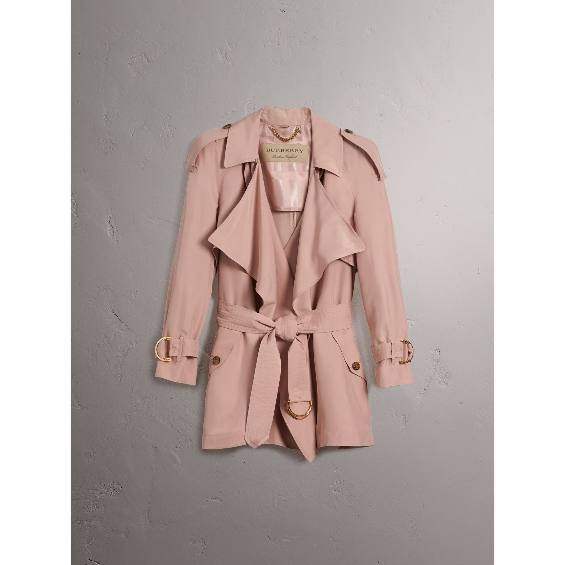 Silk Wrap Trench Coat in Ash Rose - gallery image 4