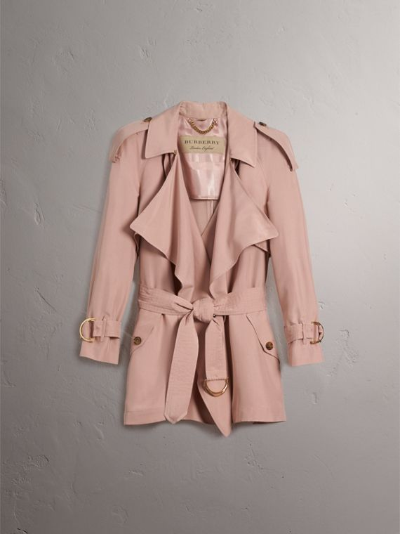 Silk Wrap Trench Coat in Ash Rose - cell image 3