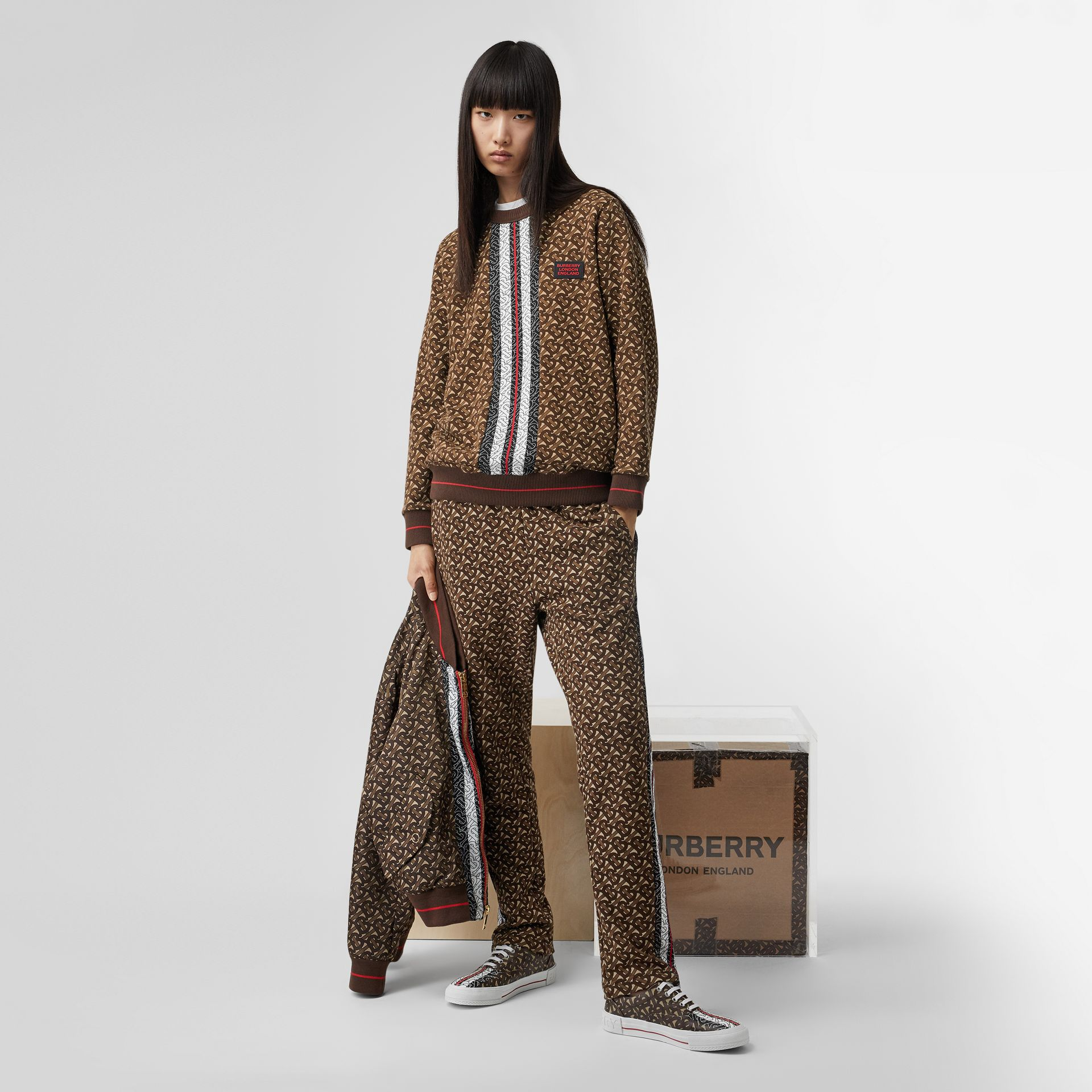 Monogram Stripe Print Cotton Oversized Sweatshirt in Bridle Brown - Women | Burberry - gallery image 7