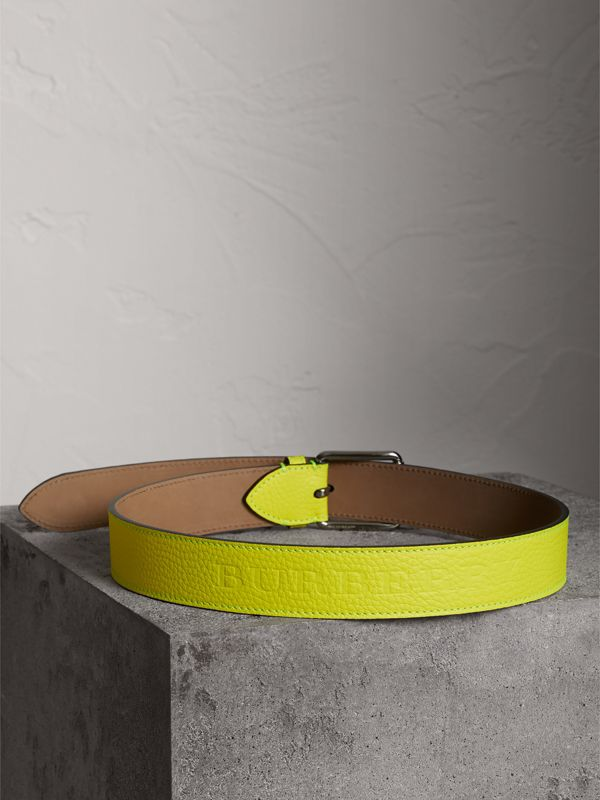 Embossed Grainy Leather Belt in Neon Yellow | Burberry - cell image 3