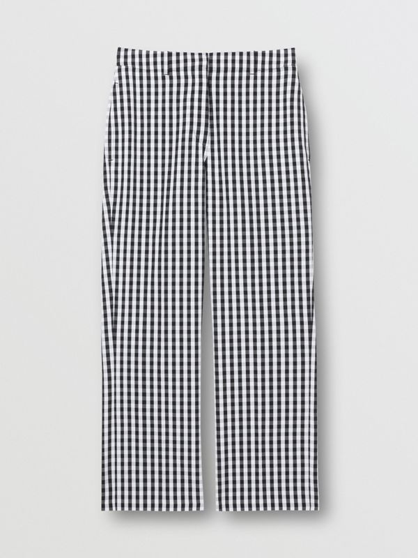 Gingham Technical Wool Cropped Trousers in Black - Women | Burberry - cell image 3