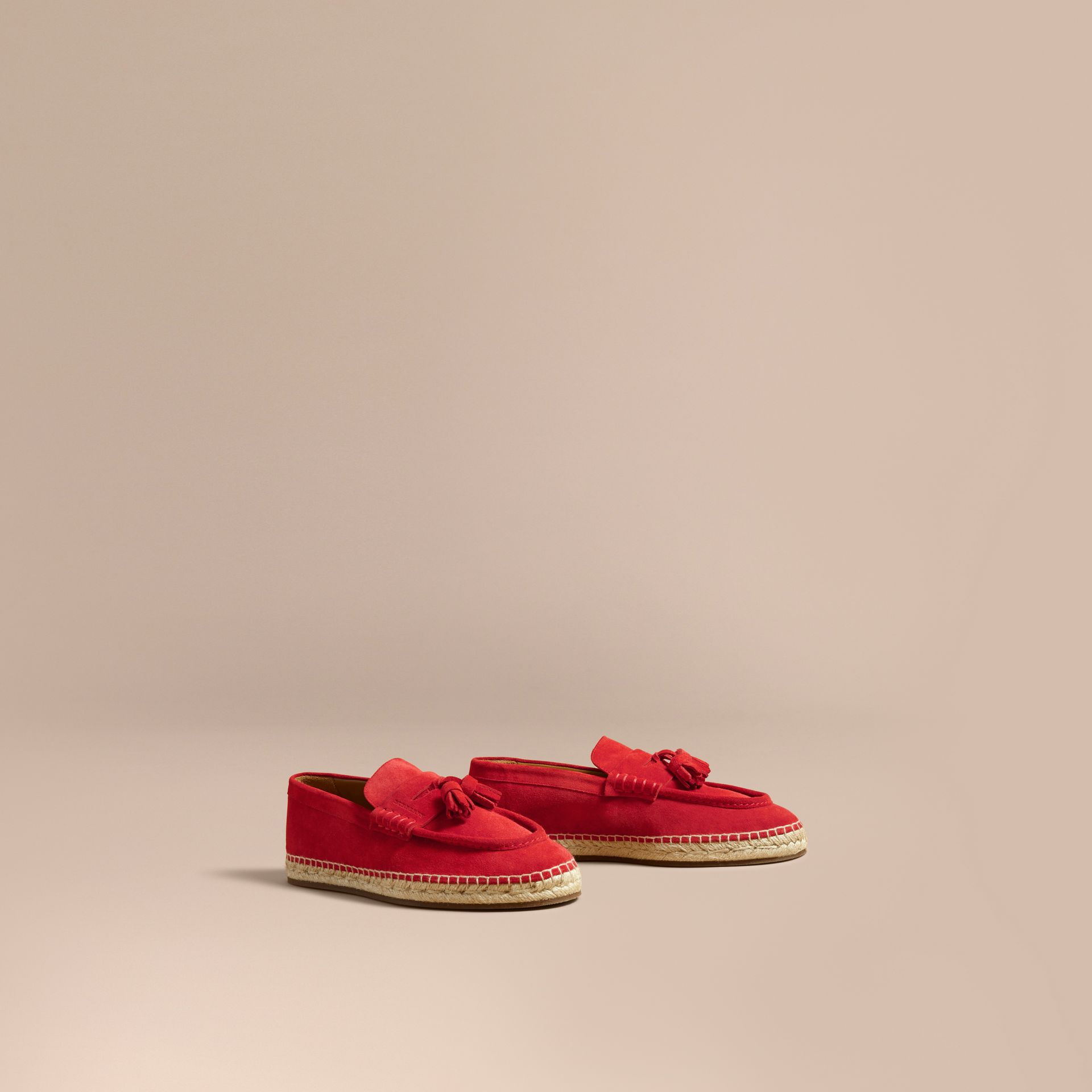 Tasselled Suede Espadrille Loafers in Bright Rowanberry - gallery image 1