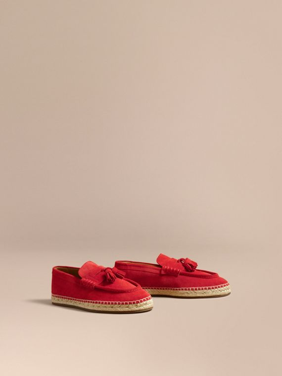 Tasselled Suede Espadrille Loafers Bright Rowanberry