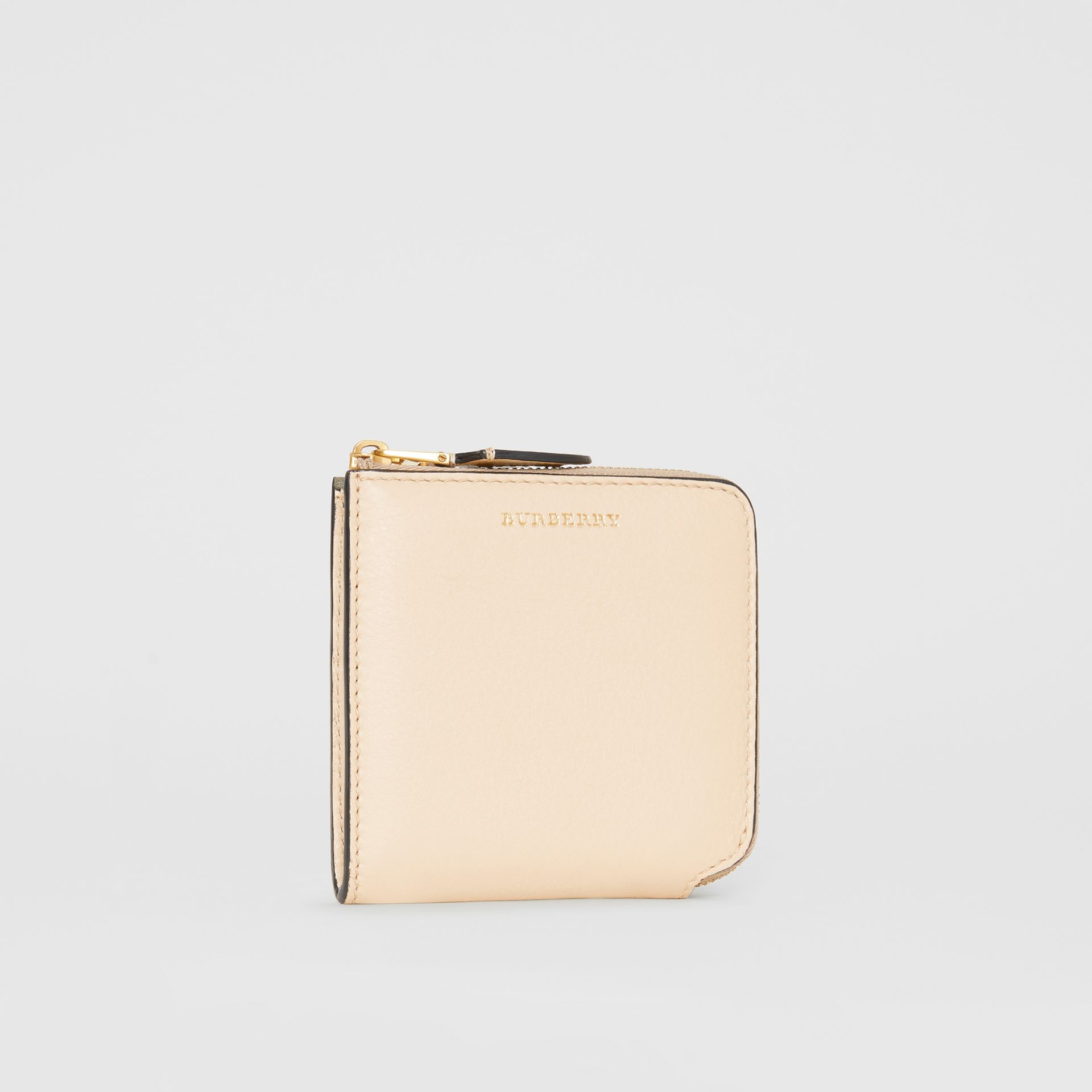 Grainy Leather Square Ziparound Wallet in Limestone - Women | Burberry - gallery image 4