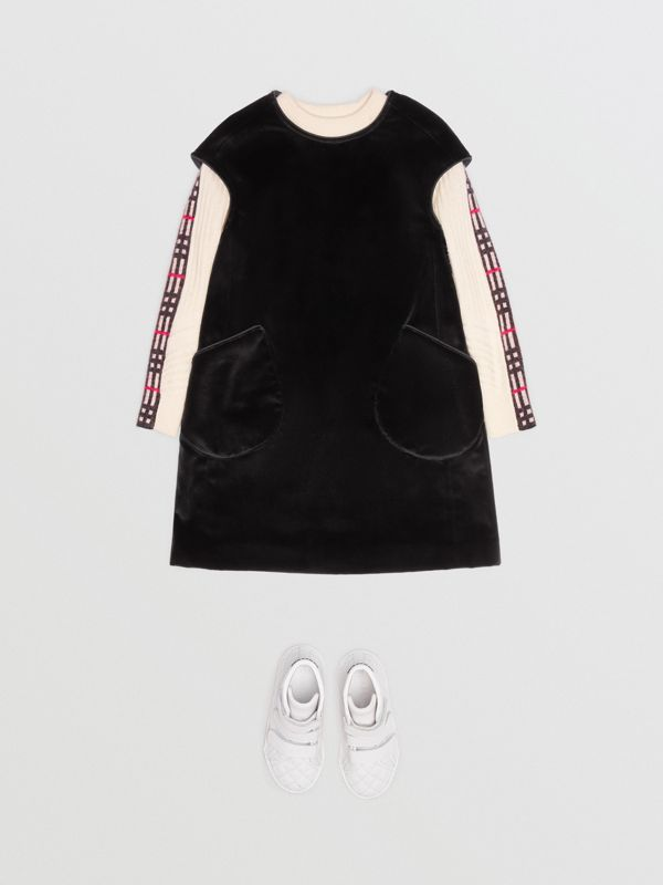 Piping Detail Velvet Shift Dress in Black - Children | Burberry - cell image 2
