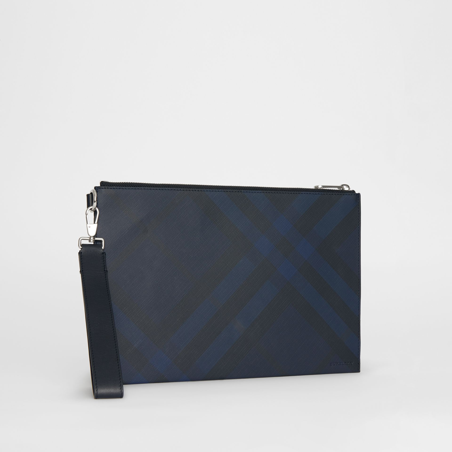 London Check Zip Pouch in Navy/black - Men | Burberry - gallery image 6