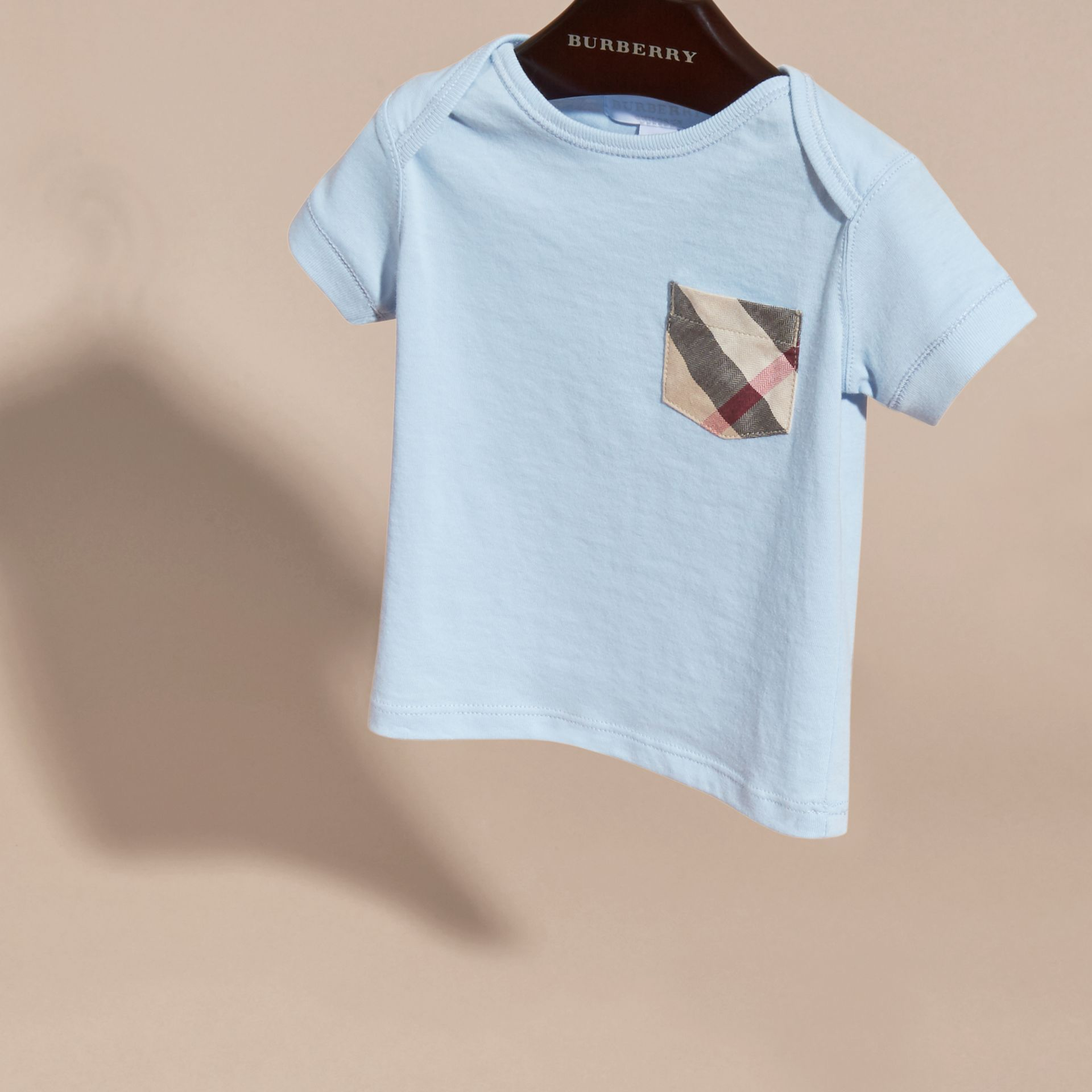 Check Pocket T-shirt in Light Blue - gallery image 3
