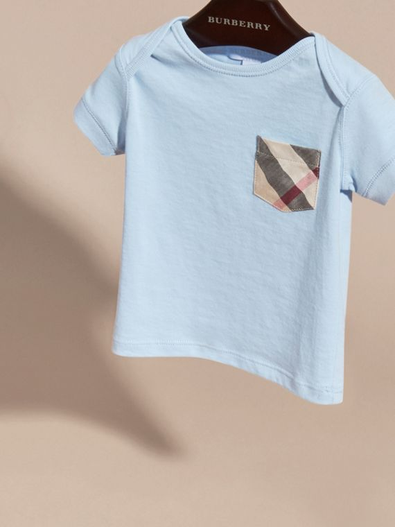 Check Pocket T-shirt in Light Blue - cell image 2