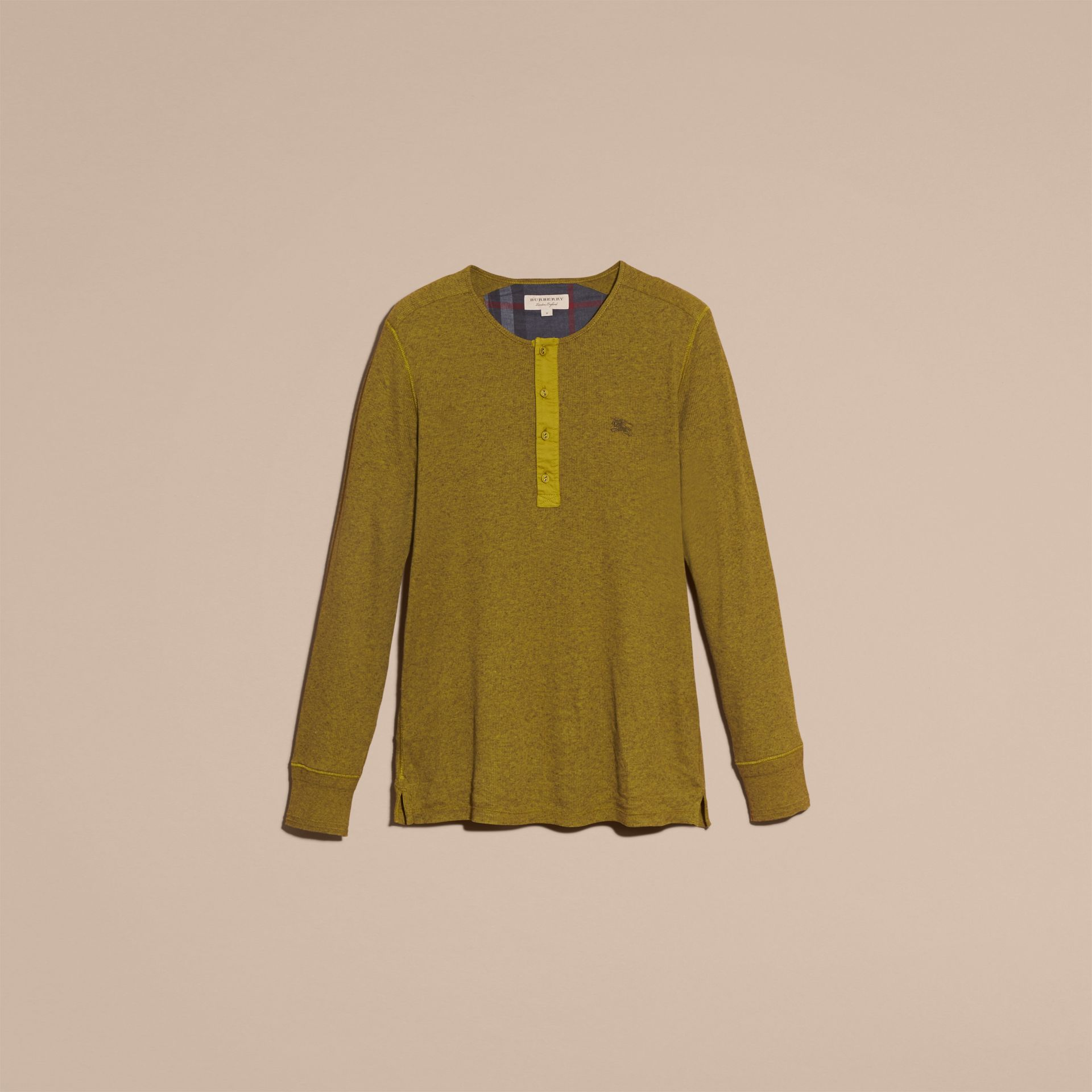 Olive green Ribbed Cotton Wool Henley Top Olive Green - gallery image 4
