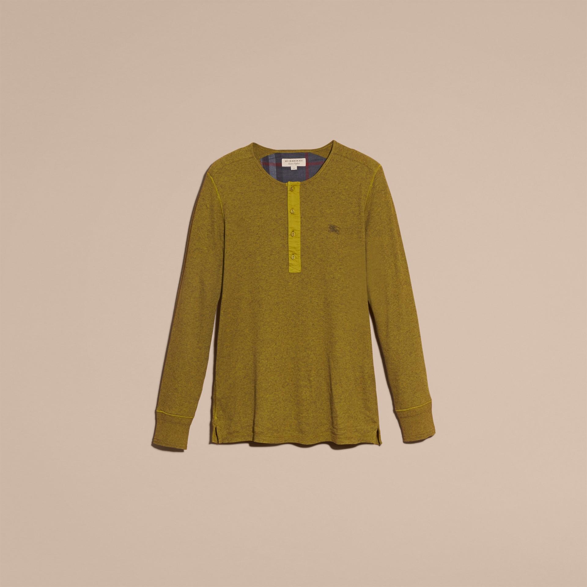 Olive green Camisa Henley de lã e algodão canelados Olive Green - galeria de imagens 4