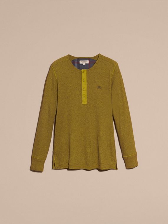 Olive green Ribbed Cotton Wool Henley Top Olive Green - cell image 3