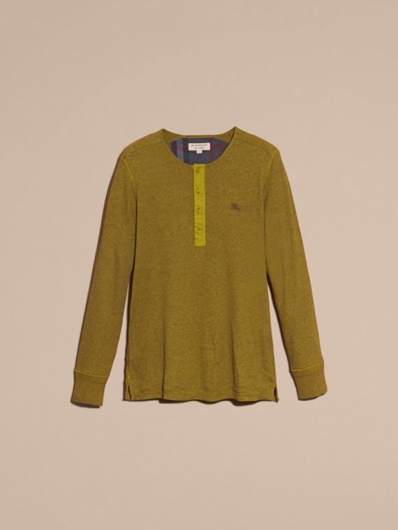 Olive green Camisa Henley de lã e algodão canelados Olive Green - cell image 3