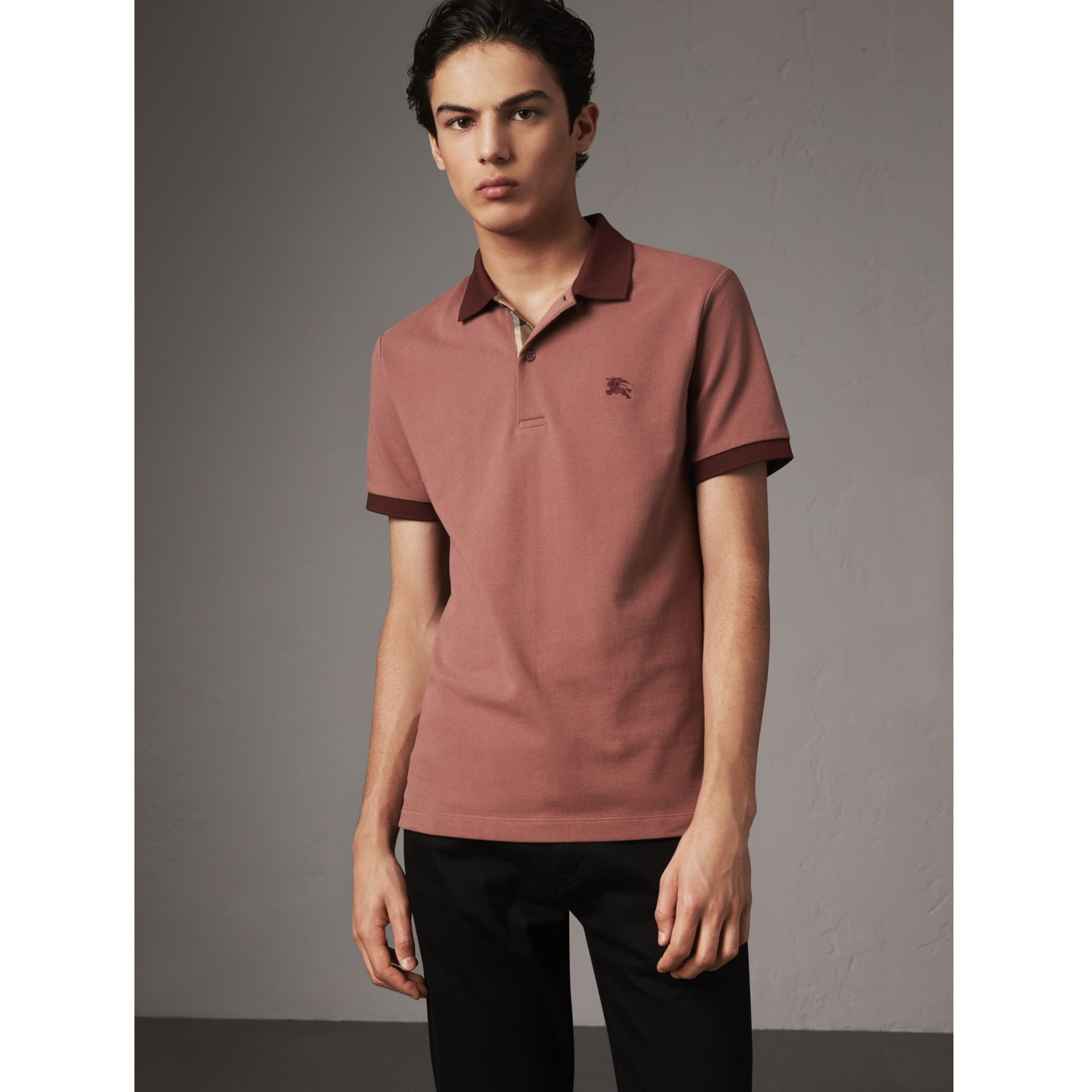 Cotton Piqué Polo Shirt in Rosewood - Men | Burberry - gallery image 1