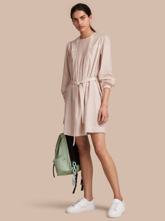 Pintuck and Lace Detail Cotton Dress in Chalk Pink