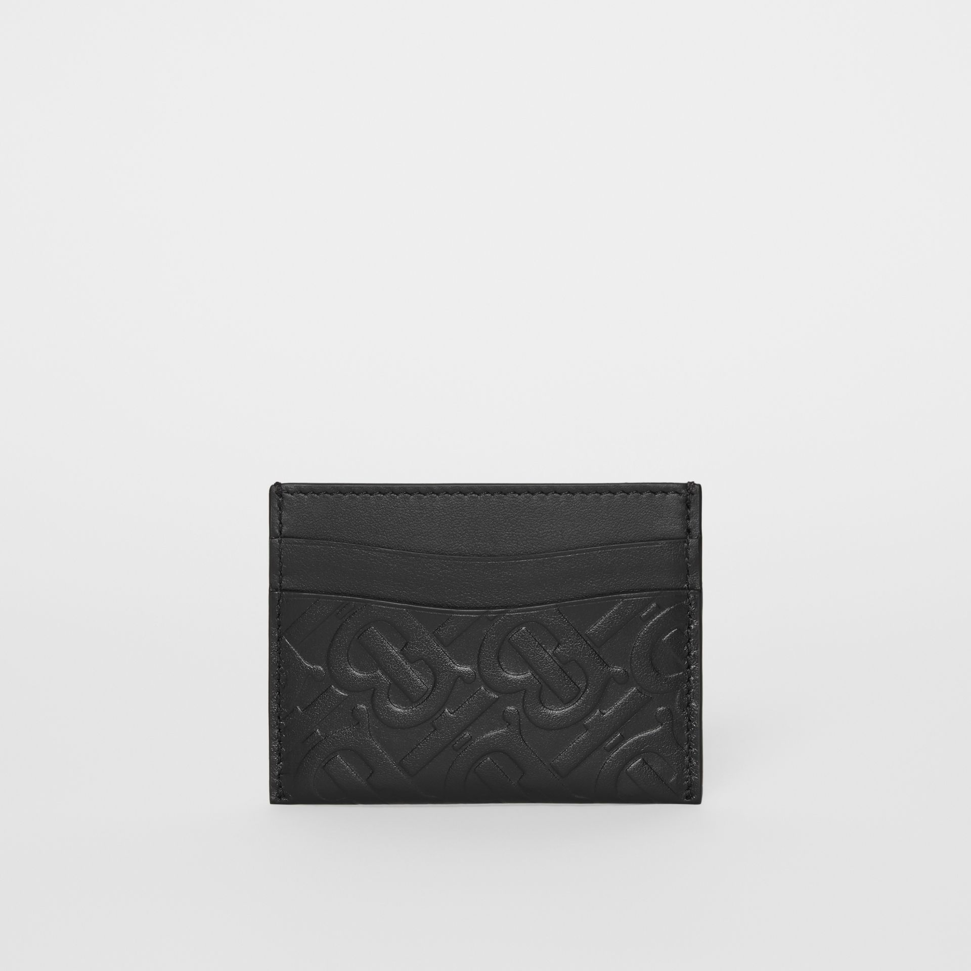 Monogram Leather Card Case in Black - Women | Burberry United Kingdom - gallery image 4