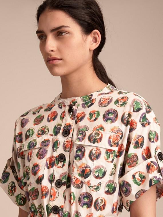 Vestido estilo camisa de algodão stretch com estampa Pallas Heads (Branco Natural) - Mulheres | Burberry - cell image 3
