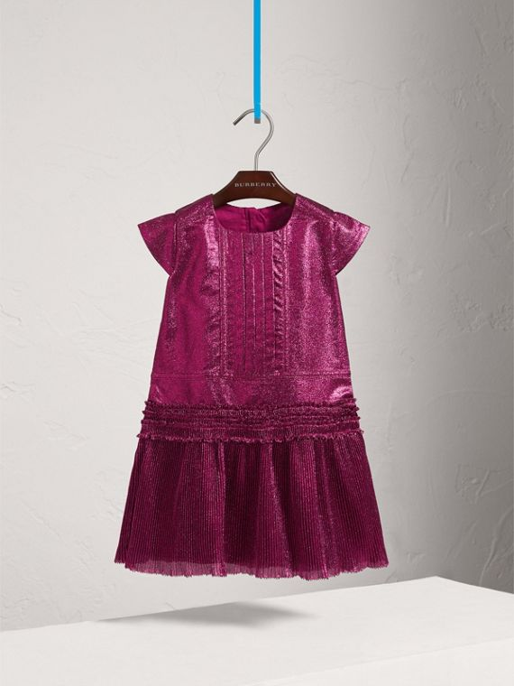 Frill Detail Lamé Dress in Bright Fuchsia