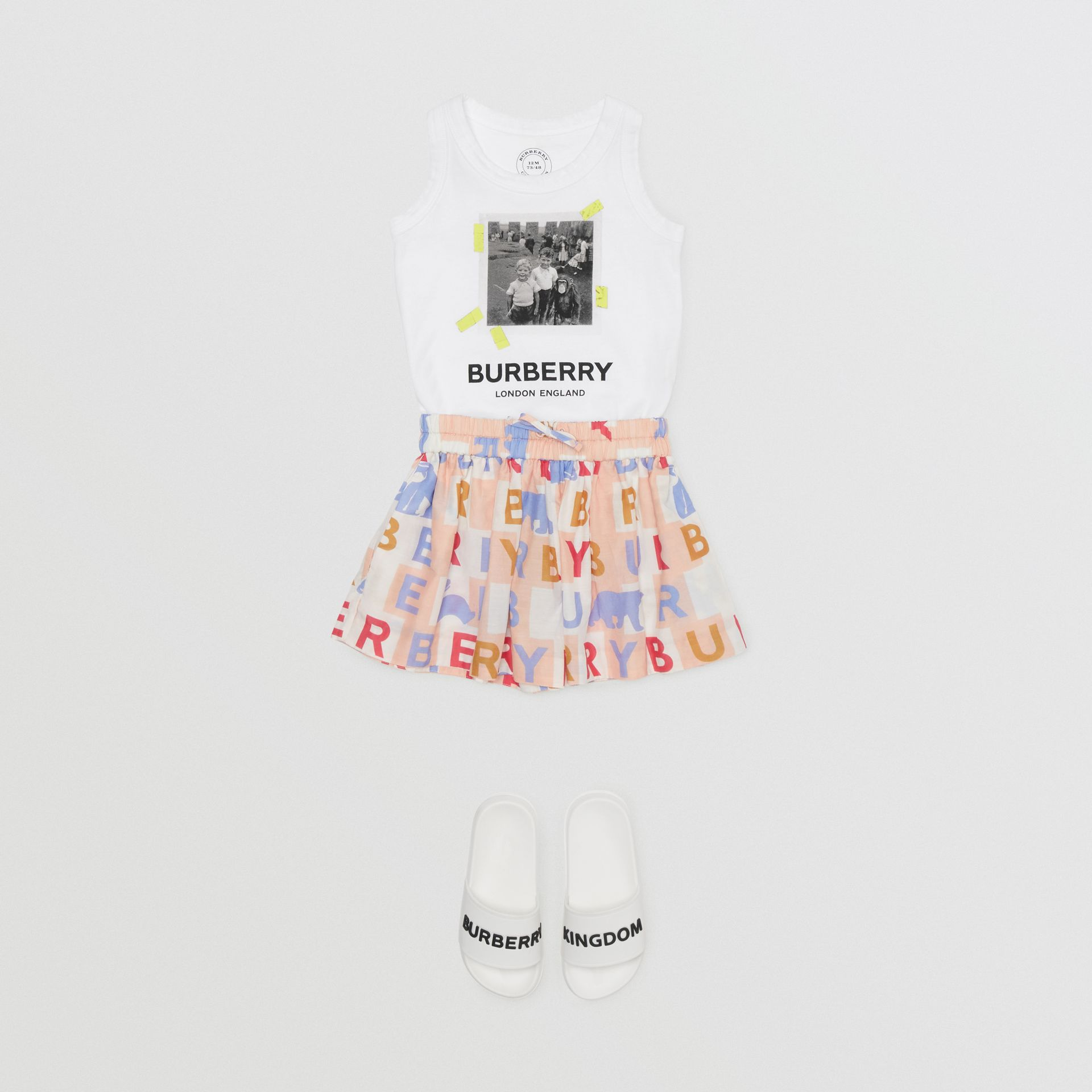 Vintage Photo Print Cotton Vest in White - Children | Burberry - gallery image 2
